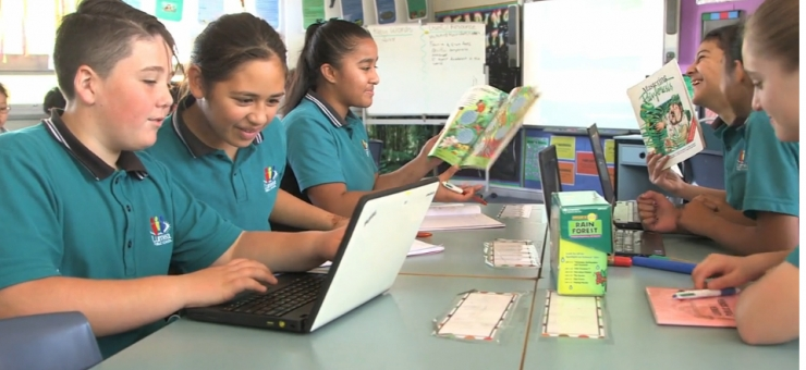 Screen shot of primary school students linked to middle childhood survey introductory video